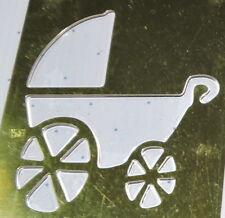 Sizzix Brass Stencil Baby Pram Buggy Template Burnish Emboss Paper Scrapbooking