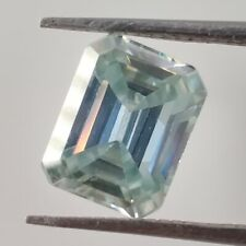Blue Emerald Cut Loose Moissanite For Ring/Pendant 2.56 Ct 8.47x 6.62 Mm Vs1 Ice