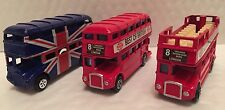 X 3 Metálico Londres Autobuses Británico Inglaterra Recuerdo Juguete Tamaño:9 X