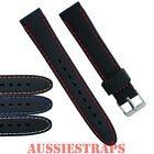 Black Silicone Rubber Waterproof Watch Band Strap Divers Stitched Mens & Ladies