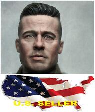 1/6 Brad Pitt Head Sculpt  Fury Tank Crews Wardaddy for Hot Toys SHIP FROM U.S.