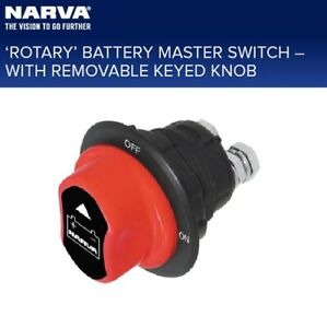 Narva Rotary Mini Battery Master Isolator Switch On/Off Switch 12/24v 100A 61036