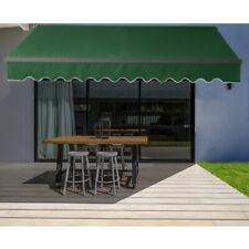 ALEKO Motorized Black Frame Retractable Home Patio Canopy Awning 16'x10' Green