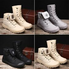 Men Lace Up Ankle Boots Casual Leather Canvas Tactical Combat Shoes Size