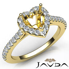 Heart Cut Diamond Semi Mount Prong Setting Engagement Ring 14k Yellow Gold 0.5Ct