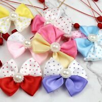 10/20/30P Satin Ribbon Flowers Mini Pearl Bows Appliques DIY Craft Wedding Decor