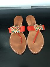 Phyllis Morgan Sandals Flats orange Leather Thongs Crystal Jeweled Butterfly 7