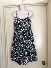 London Times Empire Waist Black & White Summer Floral Dress Size 12
