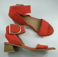 River Island size 3 (36) orange red faux suede ankle strap block heel sandals