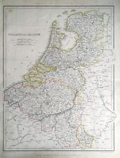 NETHERLANDS, HOLLAND & BELGIUM, Sharpe original antique map 1849