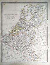 NETHERLANDS, HOLLAND & BELGIUM, Sharpe original antique map 1849