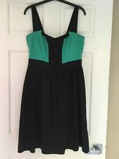 WOMENS FRENCH CONNECTION, COTTON SMART SHOESTRING DRESS, SIZE 12 NAVY/GREEN #804