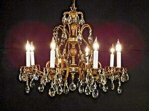Antique French Brass Bronze Lead Crystal Pineapple Chandelier ~2 Available