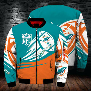 Miami Dolphins Sports Pilot Bomber Jacket Flying Tigers Warm Thicken Coat Top