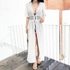 Women Sexy Lace Beach Bikini Cover Long Cardigan Summer Dress Lady Boho Chiffon