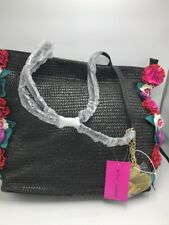 $118 Betsey Johnson BJ78505A Gypsy Rose Straw Flower Large Tote Black a7
