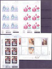Canada Scott # 2343, 2415b & 2493a Christmas Stamp Sheet set of 3 MNH