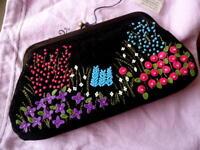 "BNWT Lulu Guinness Flower Garden large frame clutch bag ideal Xmas gift 9"" wide"