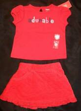 NWT GYMBOREE ~ NEW YORK GIRL/PUPPY SCHOOL red knit top & quilted skirt ~ 3 6 mos