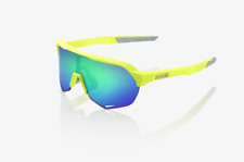100% Percent Cycling S2 Sunglasses Matte Flo Yellow Green Multilayer Mirror Lens
