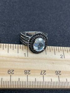 Platinum Over Sterling Unknown Gemstone Ring- Size 5.25- Estate Find- 4.3 Grams