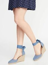 "NEW! OLD NAVY LACE TIE UP WEDGES ESPADRILLES CLOSED TOE DENIM BLUE 3"" HEEL SZ 7"