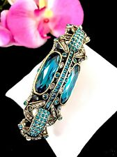 SOLD OUT NIB HEIDI DAUS AQUAMARINE BLUE RHINESTONE ART DECO 'RARE FLARE' BROOCH