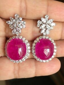 8Ct Cabochon Pink Sapphire Syn Diamond Drop Dangle Earrings White Gold FN Silver