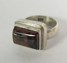 Size 7.5 Ring Black Brown Red Obsidian .925 Sterling Silver 7 Statement Jewelry
