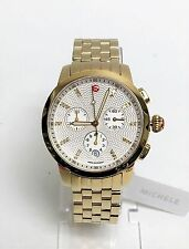 NEW MICHELE UPTOWN GOLD TONE,28 DIAMONDS,CHRONOGRAPH BRACELET WATCH MWW25A000003