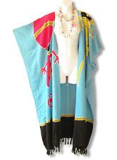 CD219 Plus Size Batik Maxi Hippy Tassel Cardigan Kaftan Duster  -2X, 3X, 4X & 5X