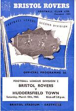 BRISTOL ROVERS V HUDDERSFIELD TOWN 10 MAR 1962 VGC