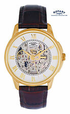 Rotary Men's GS03863/02 Automatic Skeleton Gold Plated Swiss Watch RRP £399