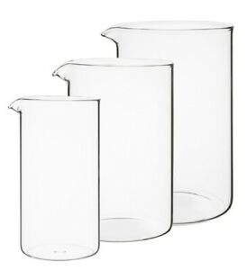 Boxed Replacement Toughened Glass Liner Beaker For Cafetiere 8 Cup 6 Cup 3 Cup