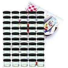 50 Sturzgläser 125ml Marmeladengläser Einmachglas Einweckglas schwarz Rezeptheft