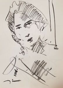 "JOSE TRUJILLO Original Charcoal on Paper Sketch Drawing 18X24"" Portrait A003"