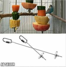 Stainless Steel Bird Parrot Cage Skewer Food Meat Stick Spear Fruit Holder To
