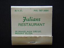 JULIANS RESTAURANT 35 RANELAGH DRIVE MOUNT ELIZA 7872984 MATCHBOOK