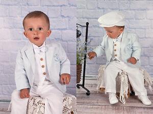 ABITO DA BATTESIMO maschietto vestito cerimonia lino bianco celeste 62-116 c 846