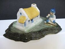Vintage Shamrock Pottery Irish Porcelain Leprechaun and Cottage WADE Figurine
