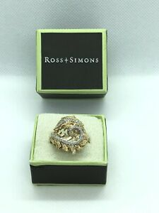Ross Simons 18K Gold Over Silver Textured Swirled Leaf Ring With Diamond, Size 6