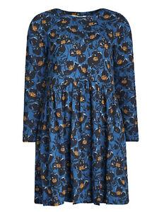 EX SEASALT Blue Printed Poppies Dusk Sea Mirror Dress Sizes 10-24 RRP £55