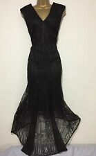 Stunning COAST Black Lace High Low Evening Occasion Dress Size 16