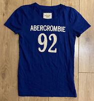Abercrombie & Fitch Women's Crew T Shirt Blue Short Sleeve Medium Cotton Blend