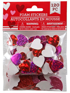 New 120 Foam Heart Stickers Valentine's Crafts Assorted Colors Hearts Lips~Qty 1