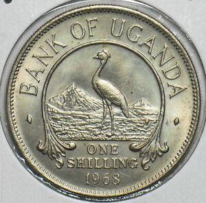 Uganda 1968 Shilling Grey crowned crane animal 197220 combine shipping