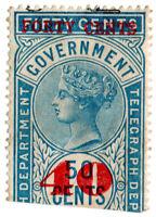 (I.B) Ceylon Telegraphs : 40c on 50c OP