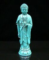 Collectible china Old Decorated Turquoise Carve Sakyamuni amitabha Statue Buddha
