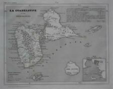 Original 1835 Map Guadeloupe French West Indies Marie Galante Pointe-à-Pitre