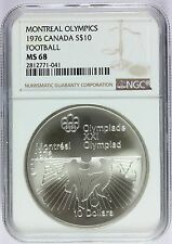 1976 Canada Montreal Olympics Football Silver $10 Coin - NGC MS 68 - KM# 111